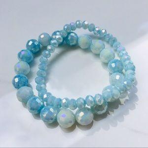 Jewelry - 2 crystal blue howlite stretch bracelet set